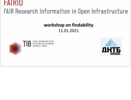 FINDABILITY OF RESEARCH INFORMATION